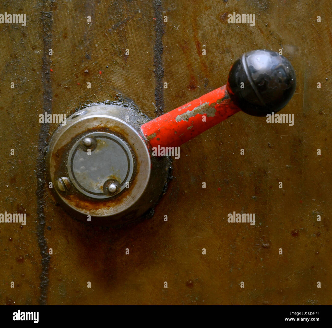 A Grungy Industrial Lever On Some Heavy Machinery - Stock Image
