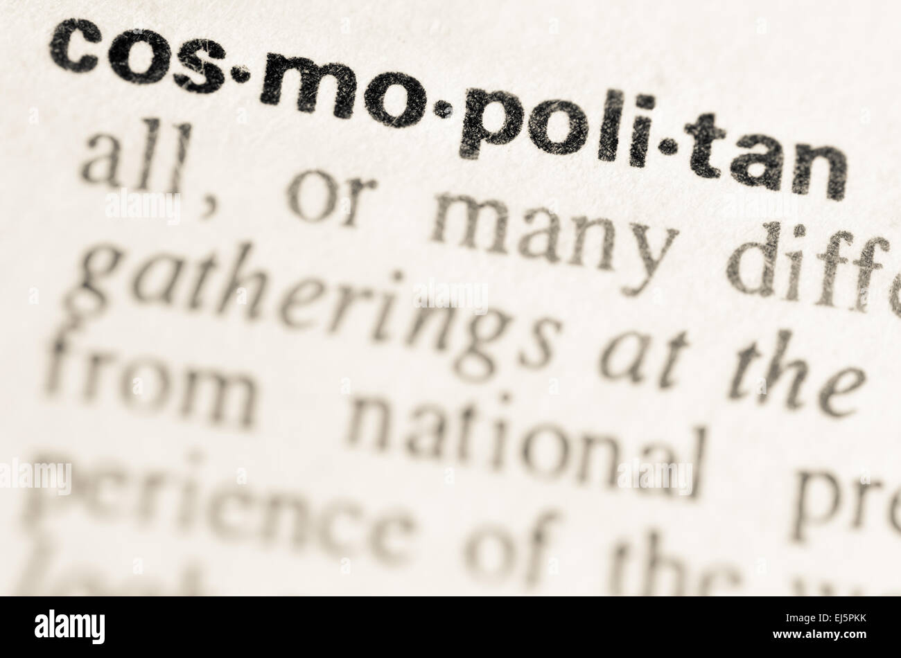 definition of word cosmopolitan in dictionary stock photo: 80032839