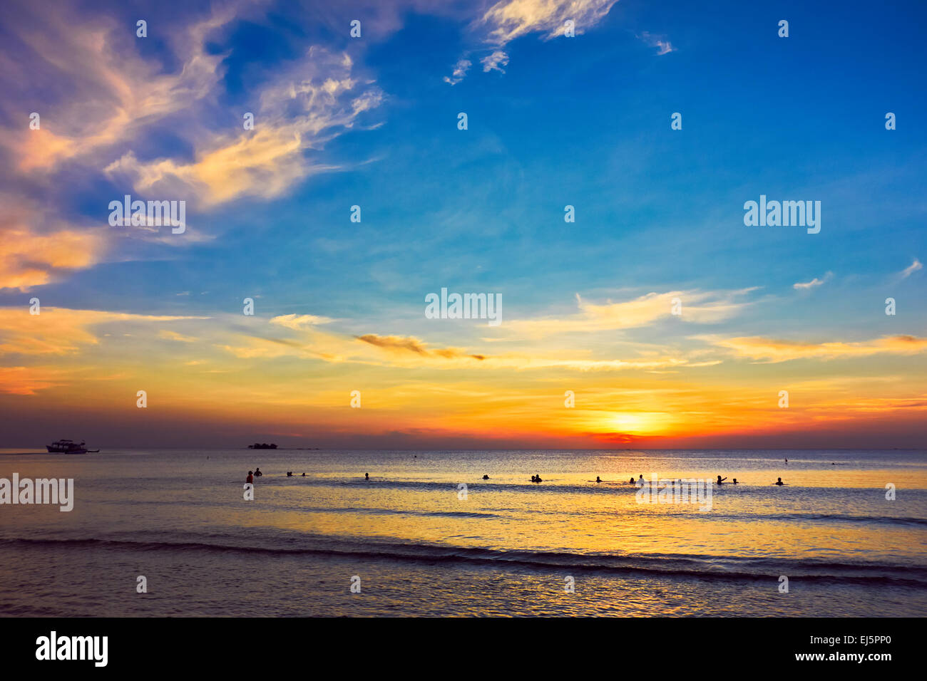 Colorful sunset on Phu Quoc island. Kien Giang Province, Vietnam. - Stock Image