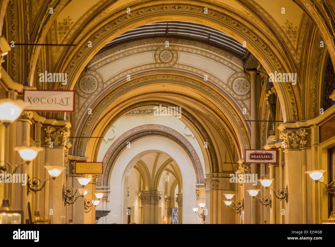 Vienna, Freyung, Palais Ferstel, shopping passage, Austria - Stock Image