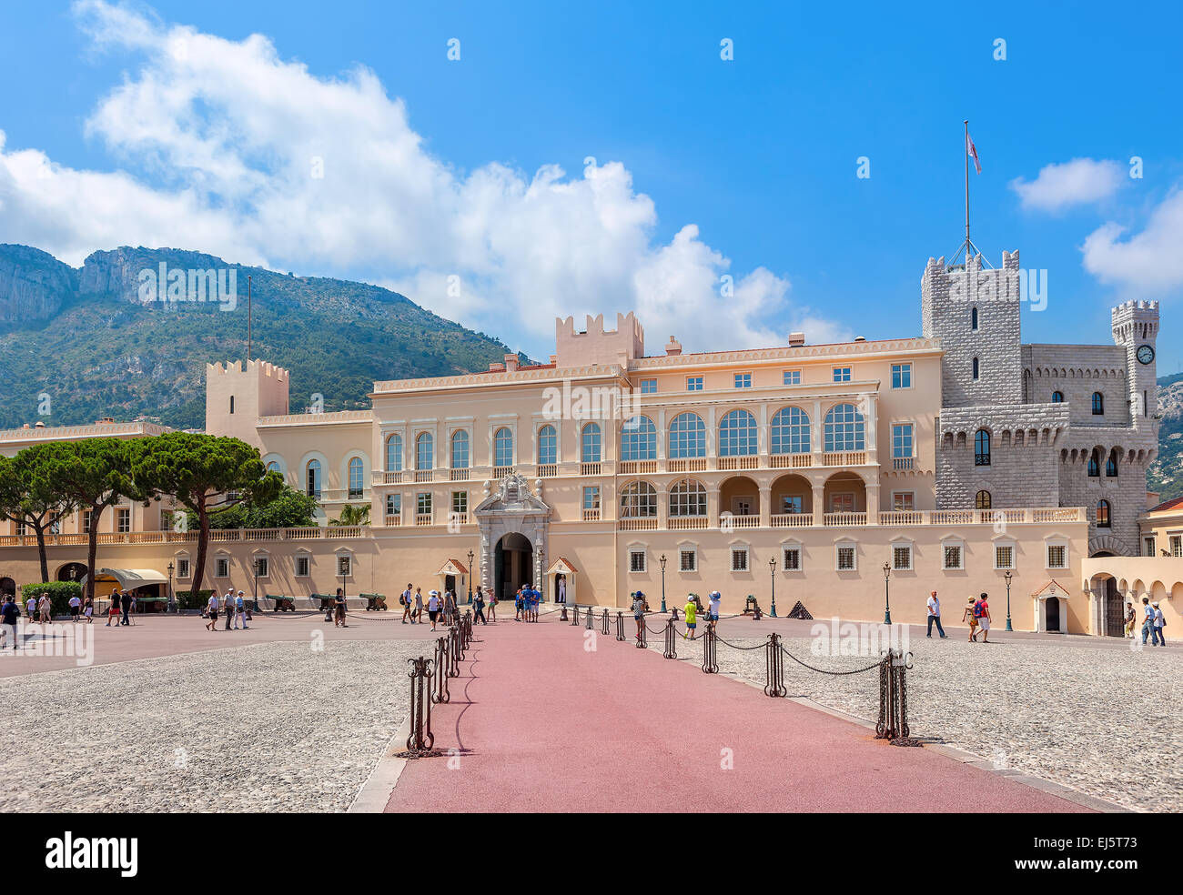 Square and facade view of the palace - official residence of Prince of Monaco. - Stock Image