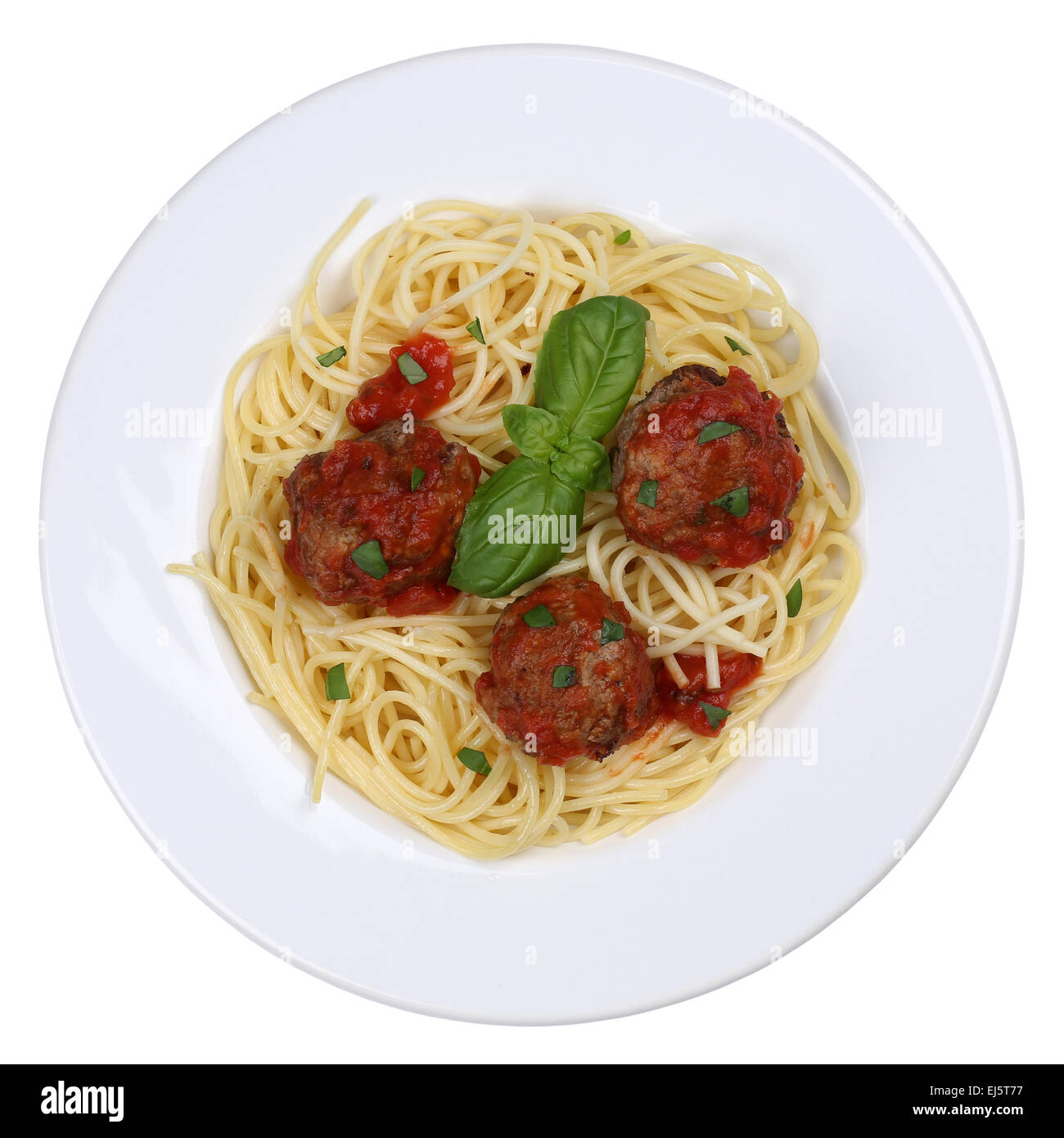 Spaghetti with meatballs noodles pasta meal on a plate isolated - Stock Image