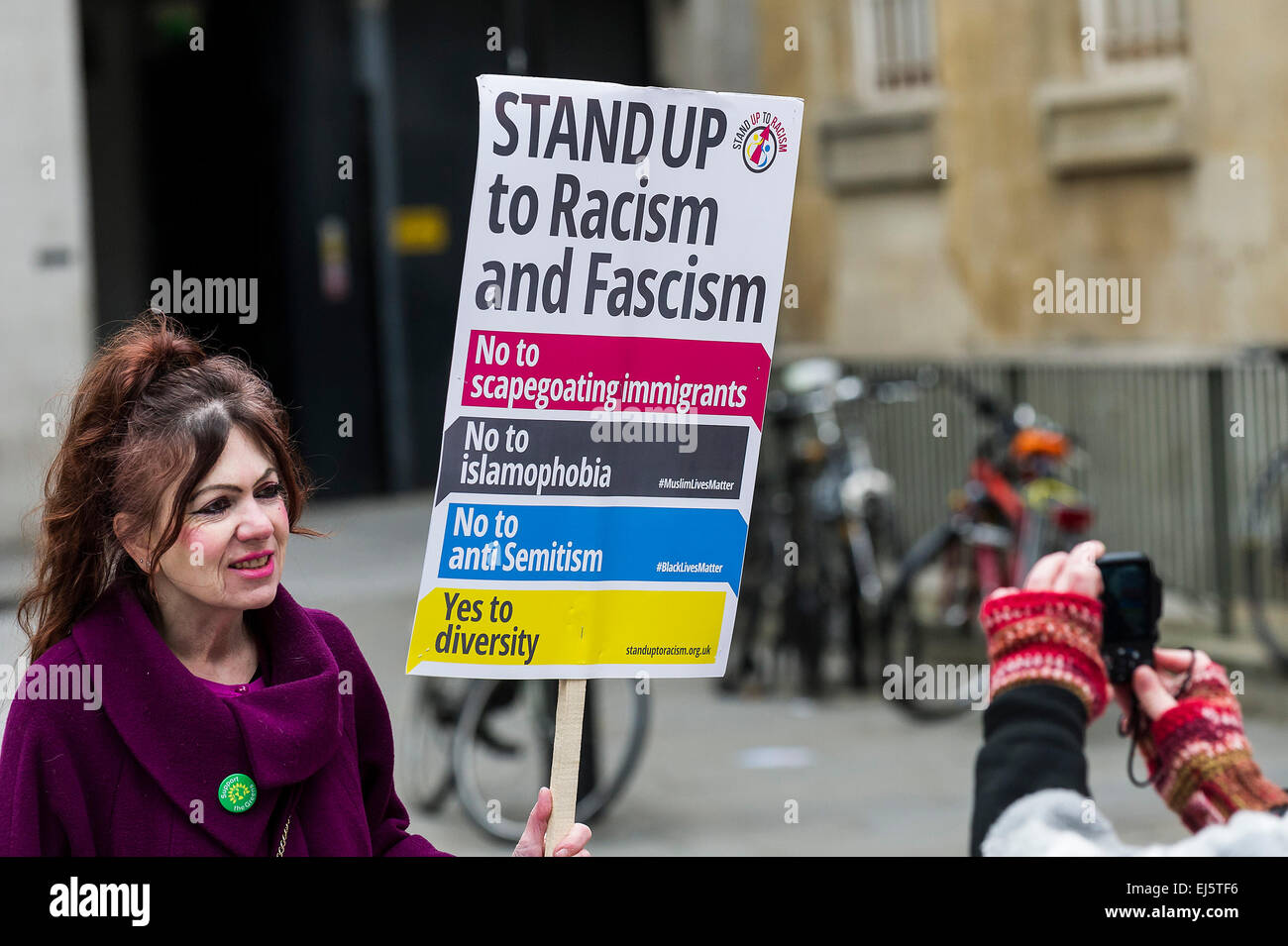 A national demonstration against racism and fascism organised by Stand Up To Racism. - Stock Image