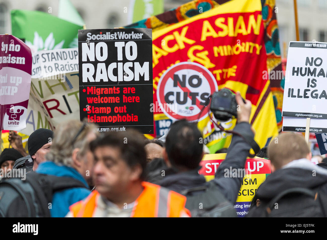 A national demonstration against racism and fascism organised by Stand Up To Racism. Stock Photo