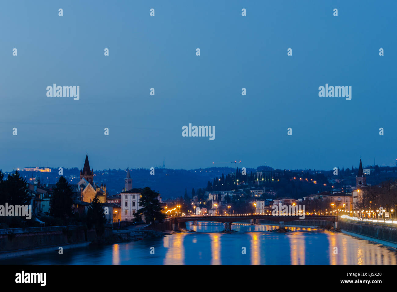 View of Verona at the blue hour - Stock Image