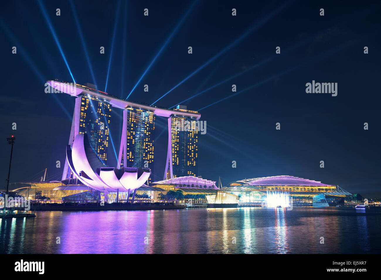 singapore apr 5 marina bay sands hotel light show at night on