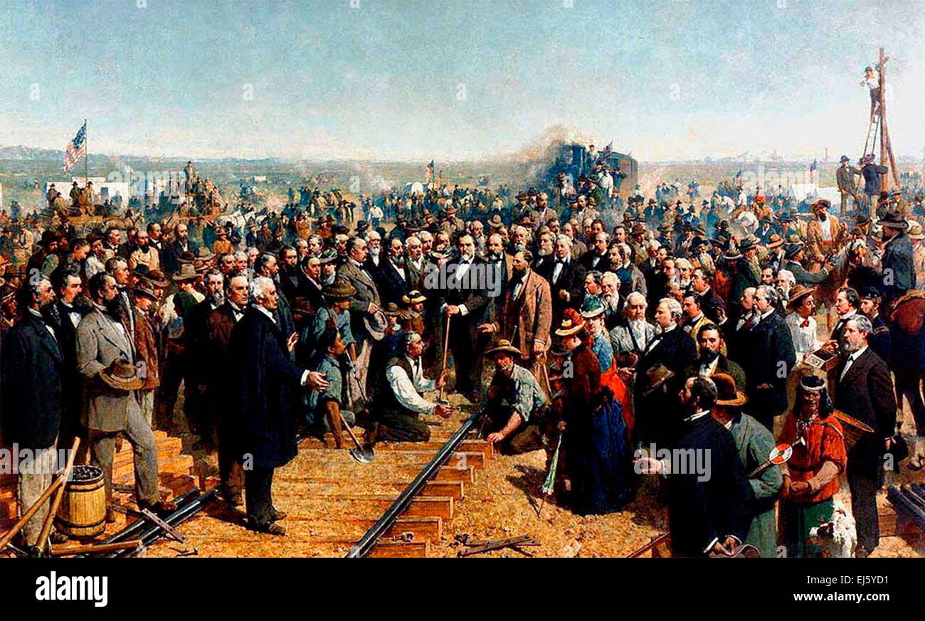 'The Last Spike' by Thomas Hill (1881) depicting the ceremony of the driving of the 'Last Spike' - Stock Image