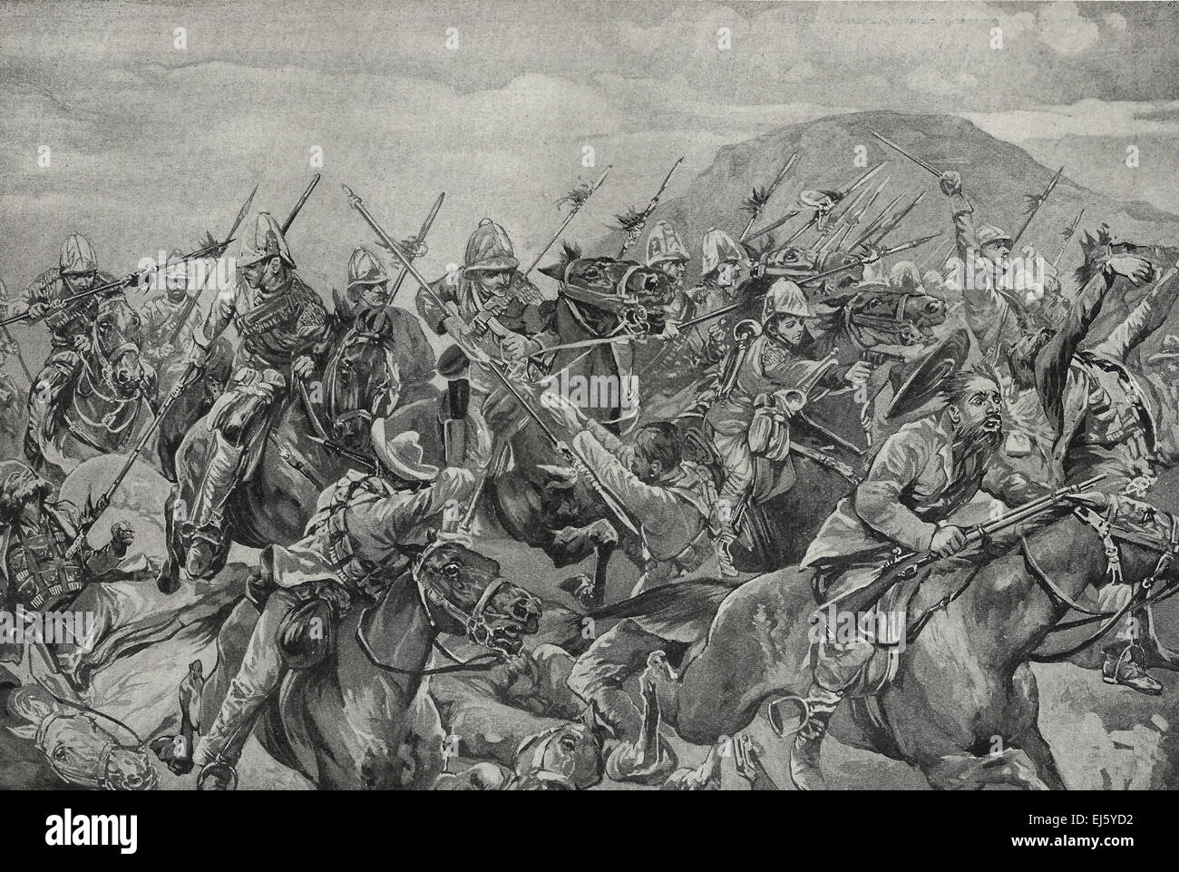 The Charge of the Lancers - The Battle of Elandslaagte ended in the gloom of settling night with the Charge of the - Stock Image