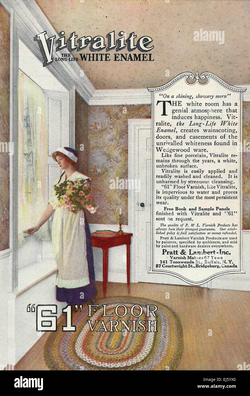 Vitralite White Enamel Floor Varnish - Advertisement, circa 1916 - Stock Image
