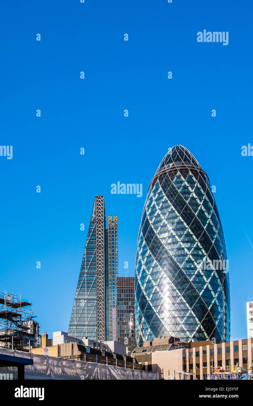 Leadenhall Building & 30 St.Mary Axe - City of London - Stock Image