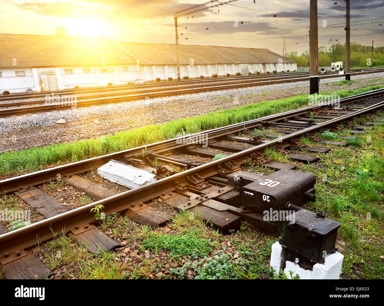 Green grass near rails along industrial station - Stock Image