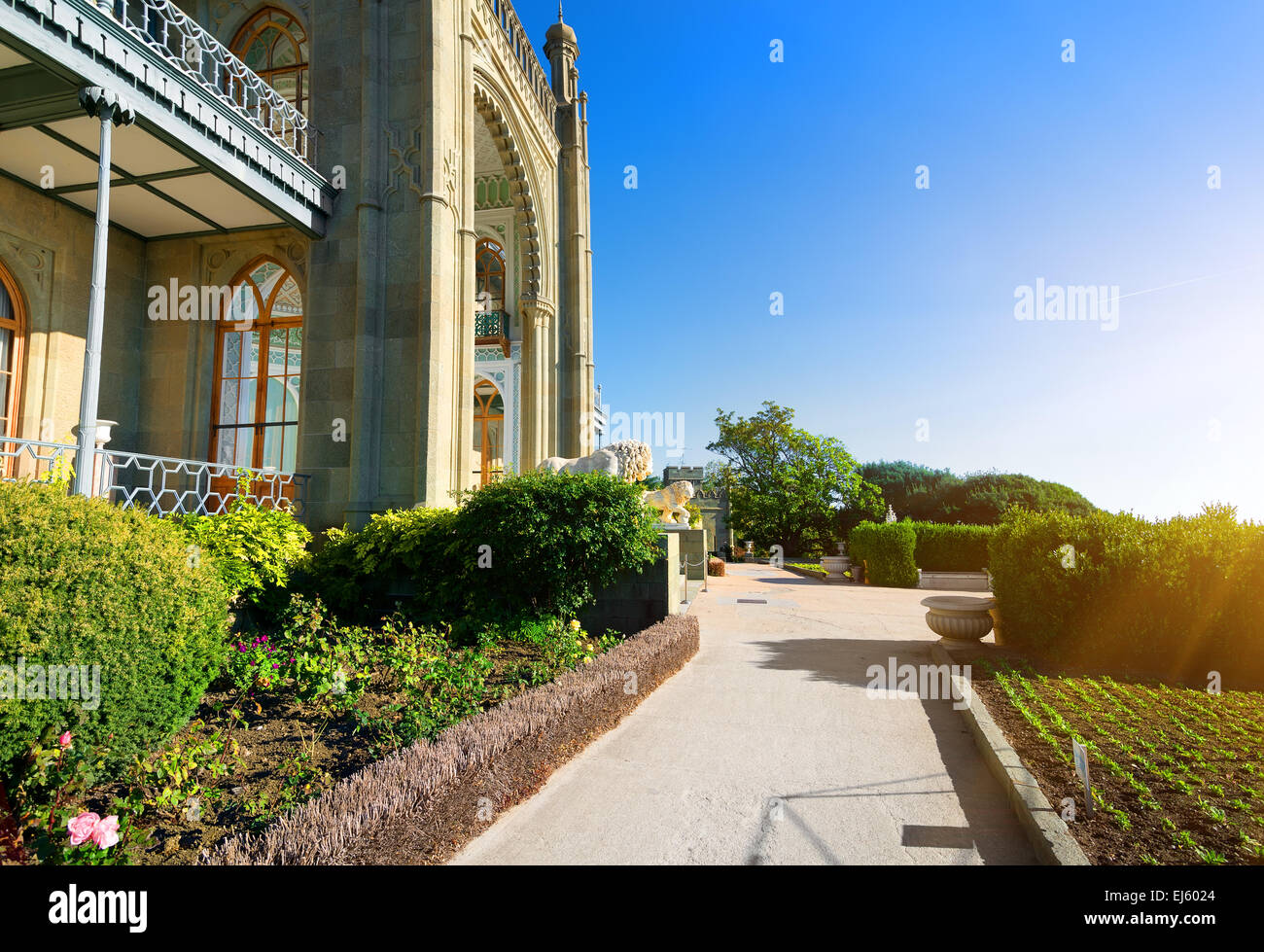 Beautiful park in Vorontsov's palace in spring Stock Photo