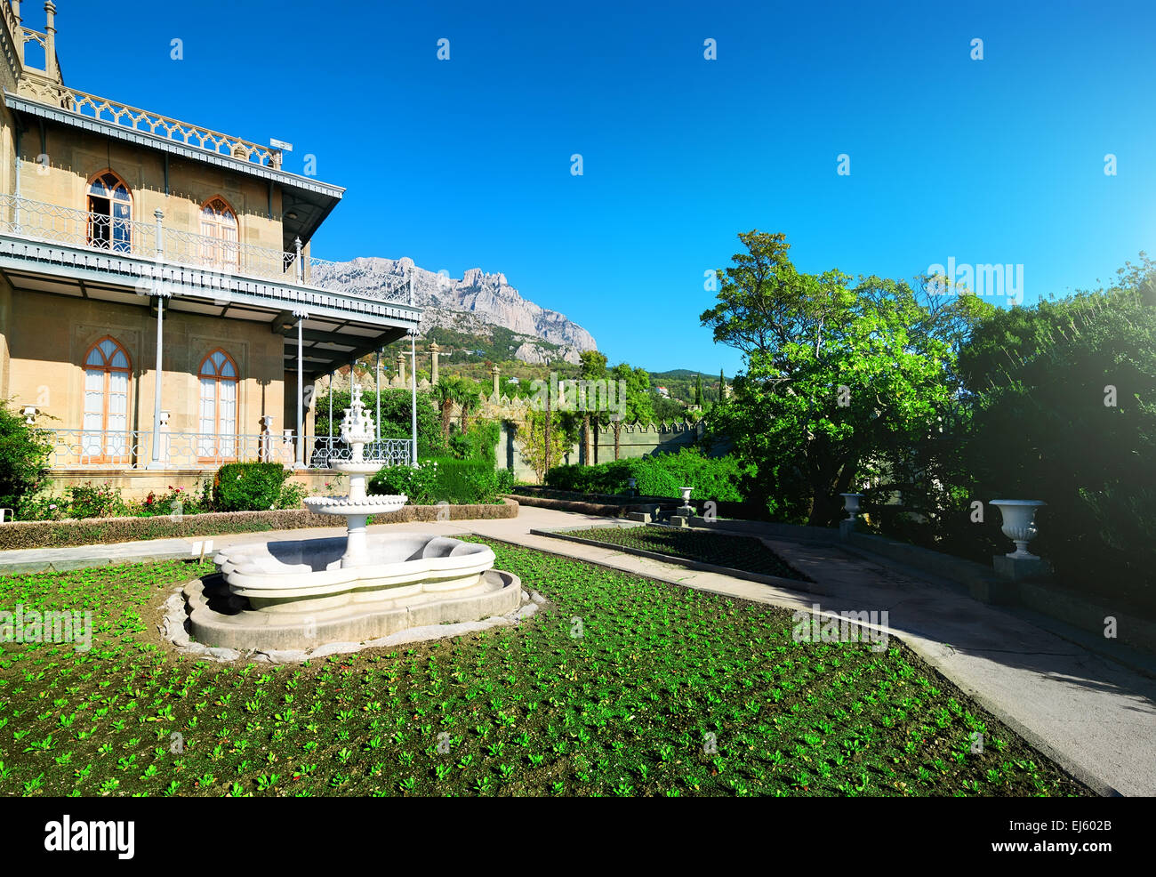 Spring in Vorontsov's residence in the mountains - Stock Image