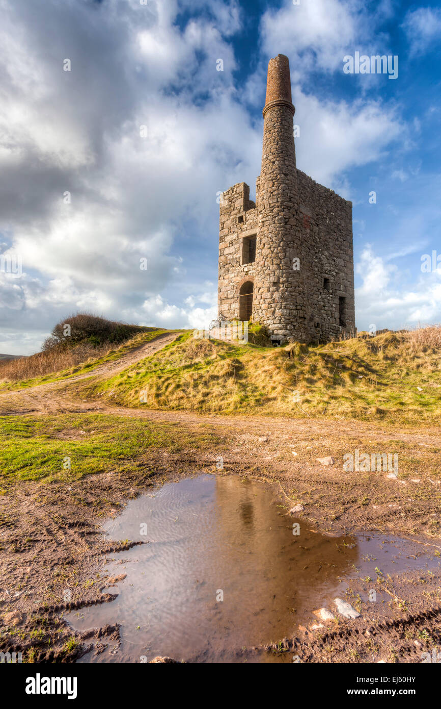 Greenburrow pumping engine house at the historic Ding Dong Mine Cornwall England UK Europe - Stock Image