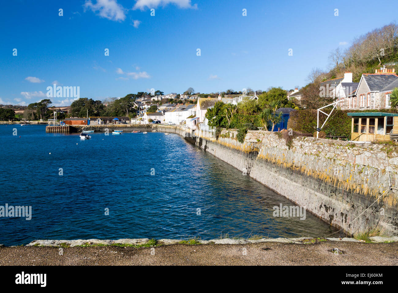 The coastal village of Flushing on the Penryn River, Part of the Carrick Roads Cornwall England UK Europe Stock Photo
