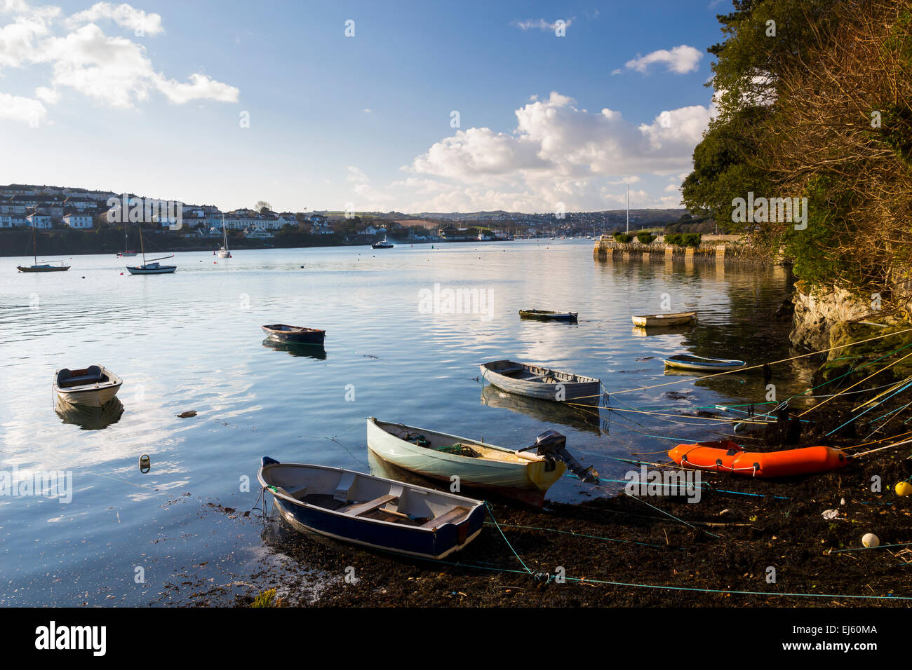 The coastal village of Flushing on the Penryn River, Part of the Carrick Roads Cornwall England UK Europe - Stock Image