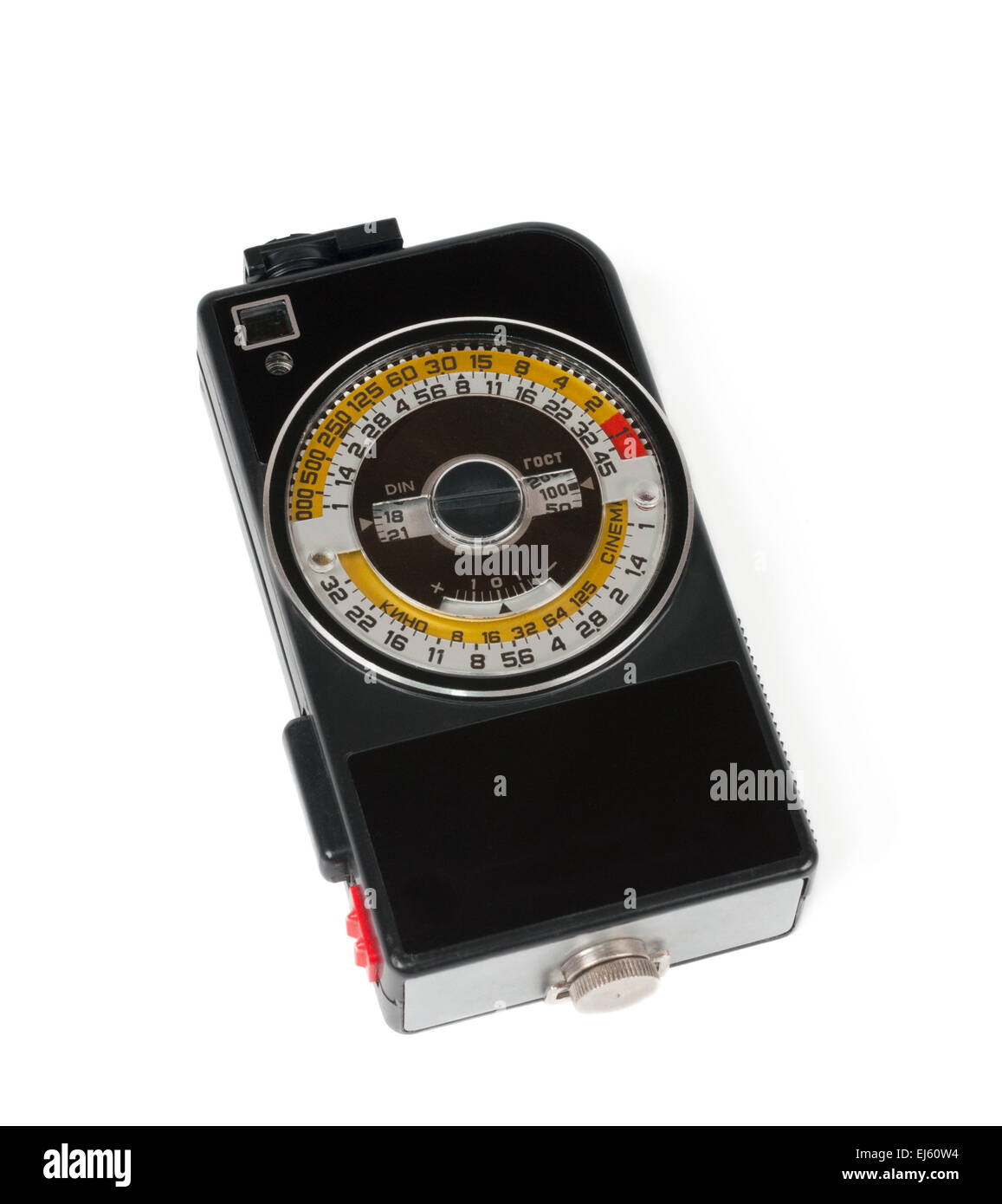 Old russian exposure meter isolated on white - Stock Image