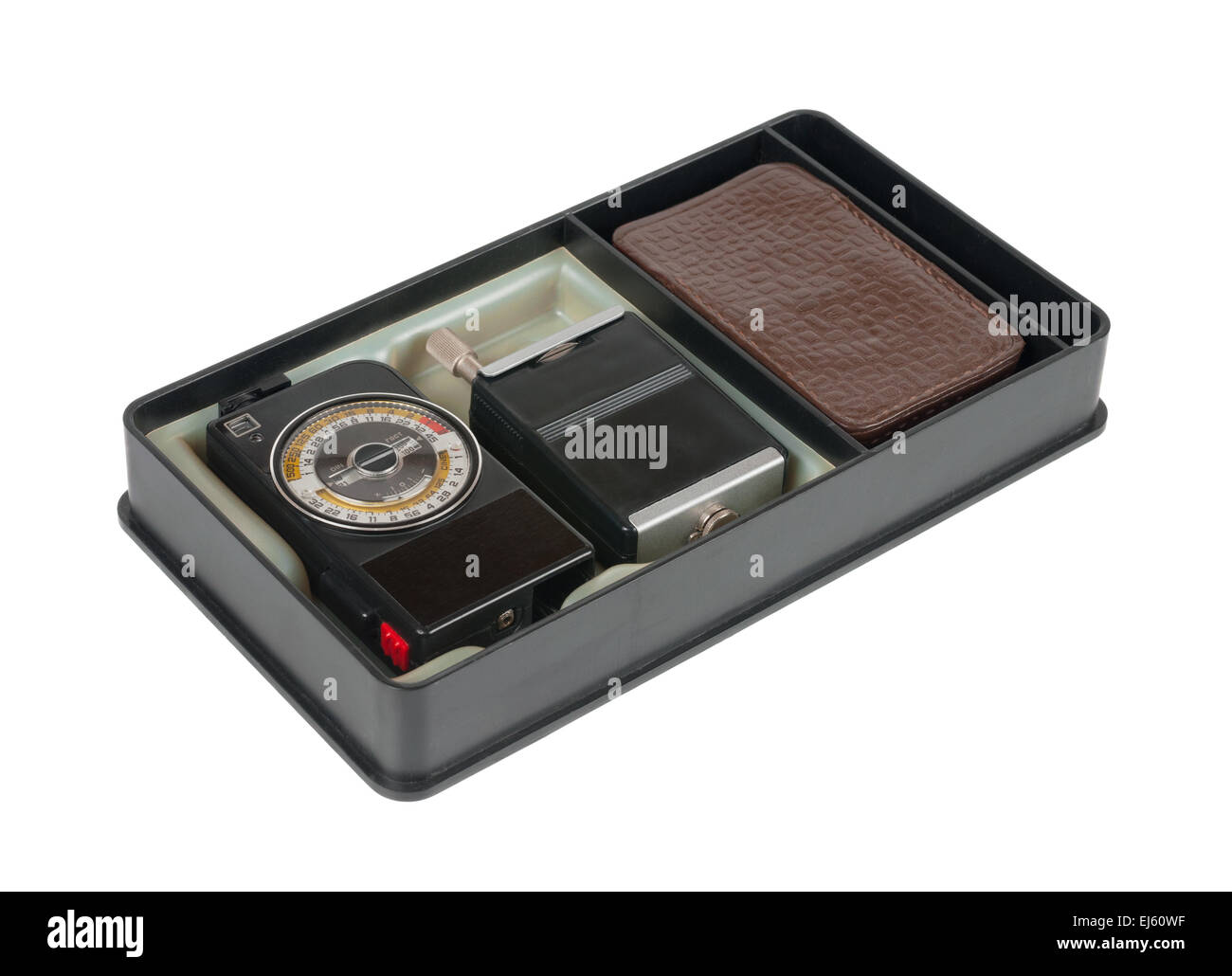 Exposure meter in the box. Isolated over white - Stock Image