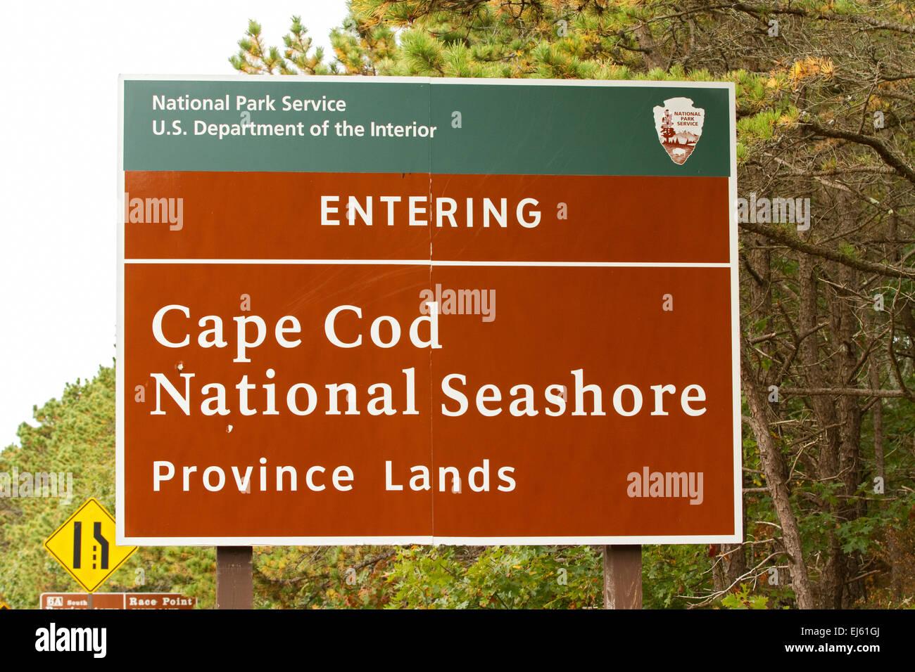 Cape Cod National Seashore National Park sign. - Stock Image