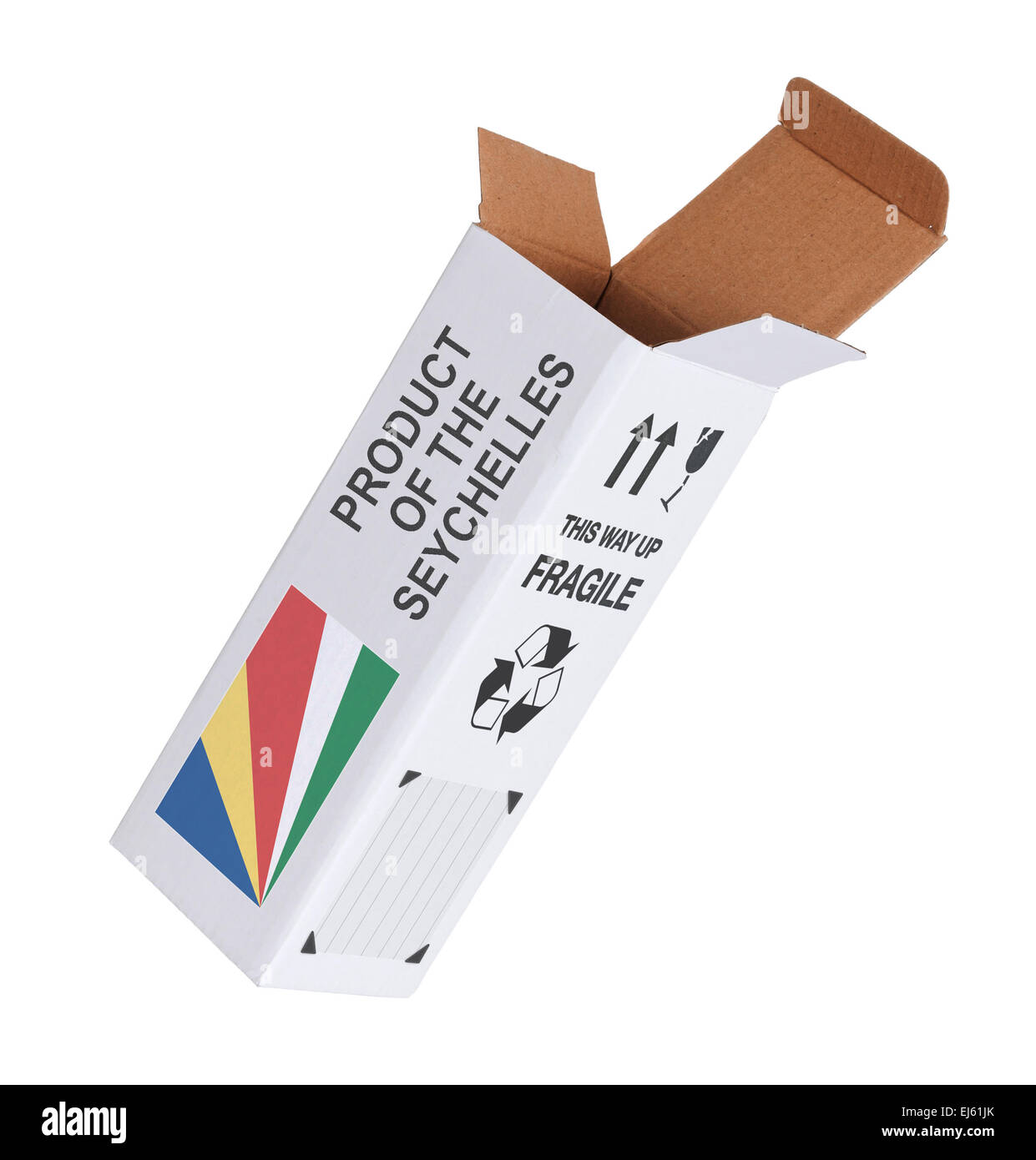 Concept of export, opened paper box - Product of the Seychelles - Stock Image