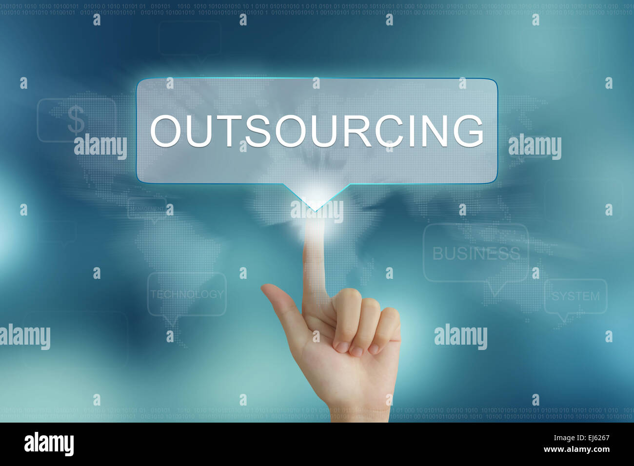 hand pushing on outsourcing balloon text button - Stock Image