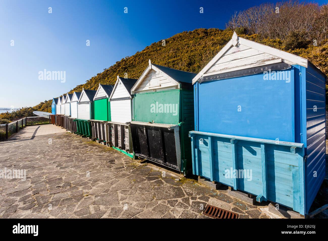 Beach huts at Middle Chine beach Bournemouth Dorset England UK Europe - Stock Image