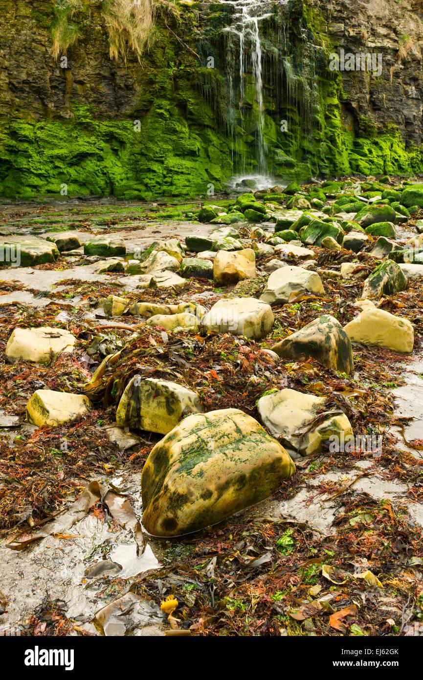 Waterfall on the beach at Kimmeridge Bay, Dorset, England - Stock Image