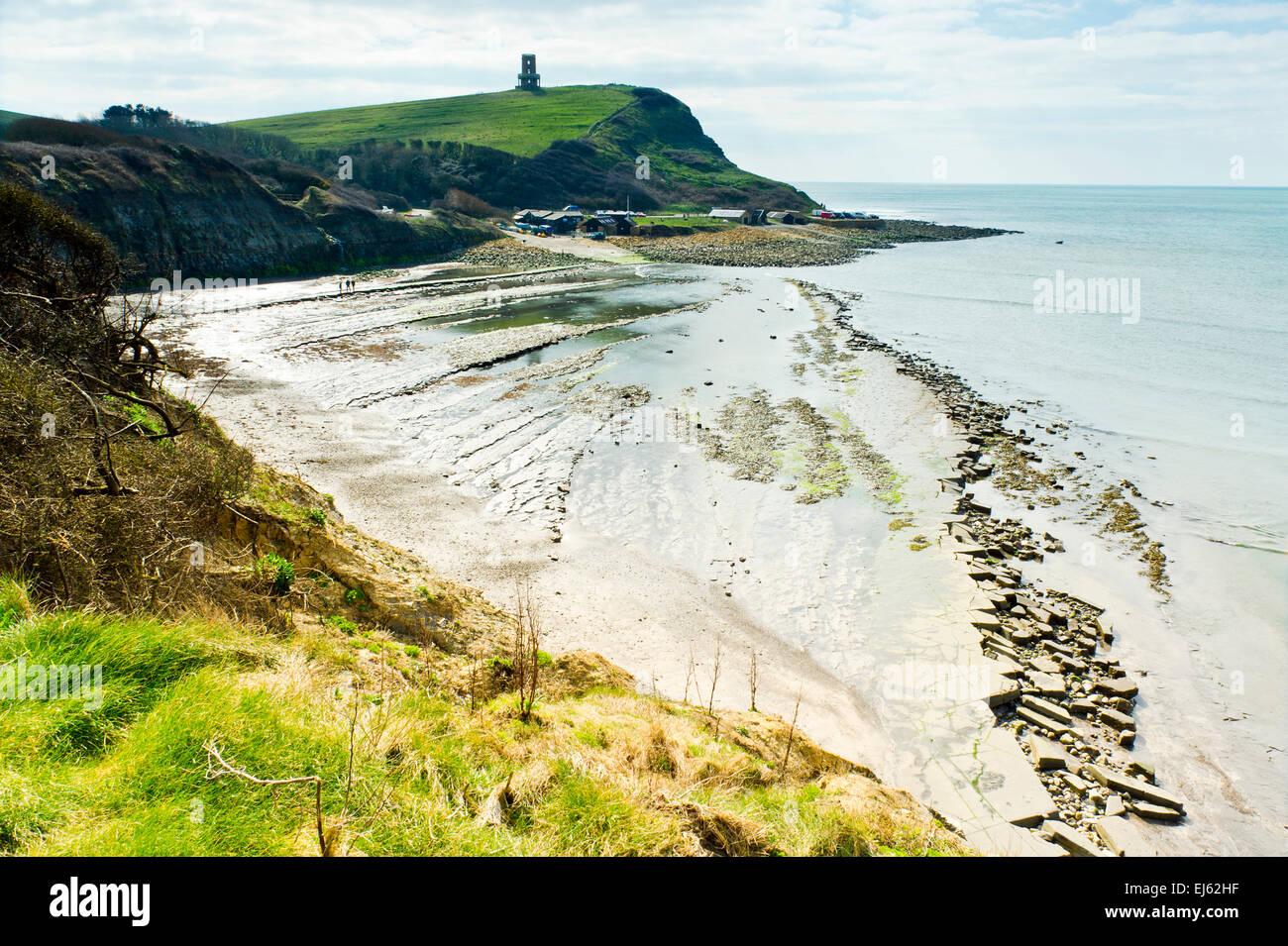 Beach at Kimmeridge Bay, Dorset, England - Stock Image