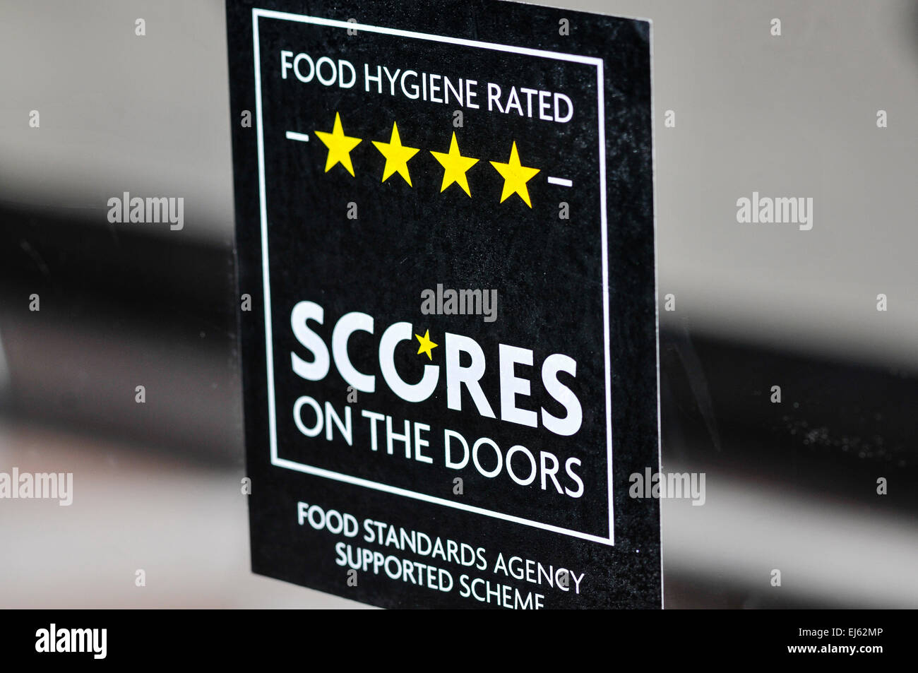 \ Scores on the Doors\  food hygiene rating sign with four stars. \  & Scores on the Doors\