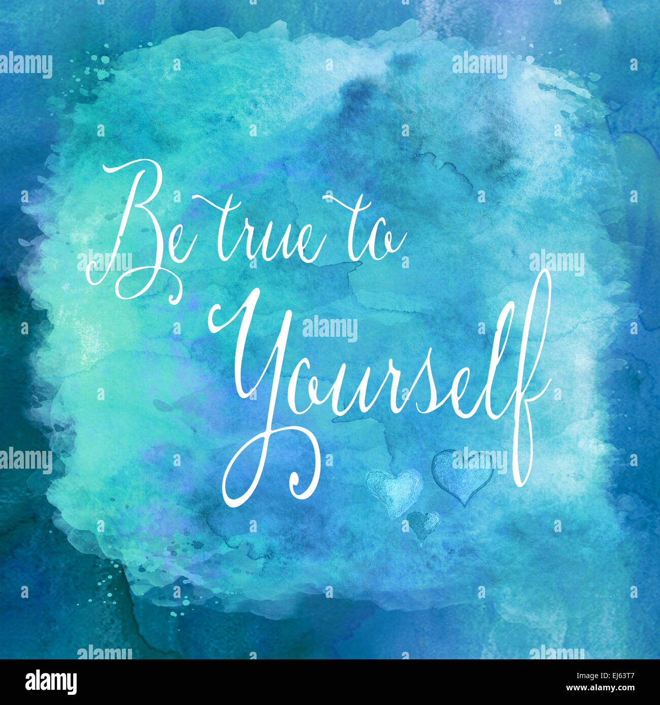Be True To Yourself Watercolor Motivational Quote Wall Art Stock