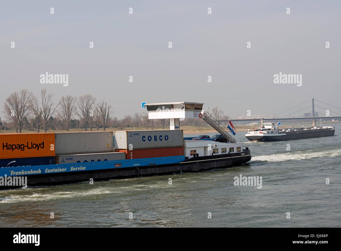 Joline II Frankenbach Ro-Ro Service barges, river Rhine, Dusseldorf, Germany. - Stock Image