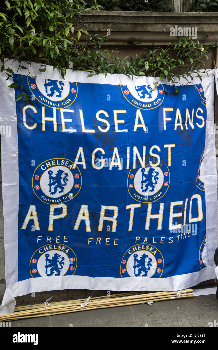 Chelsea Football club against apartheid banner at the anti racism march London March 21st Kick out racism in Football - Stock Image