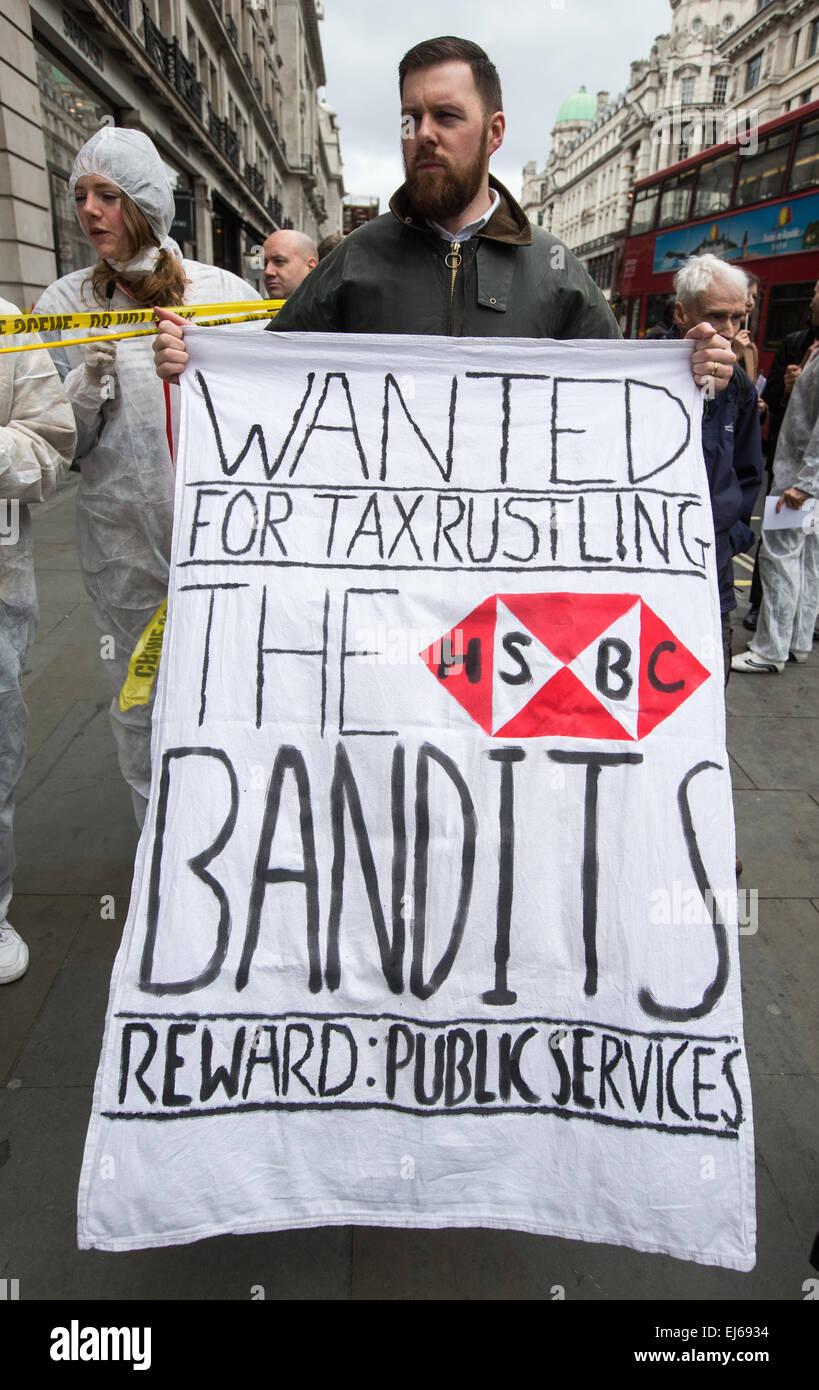 UK Uncut demonstration at HSBC Regent street against the banks' tax avoidance asking George Osbourne to make - Stock Image