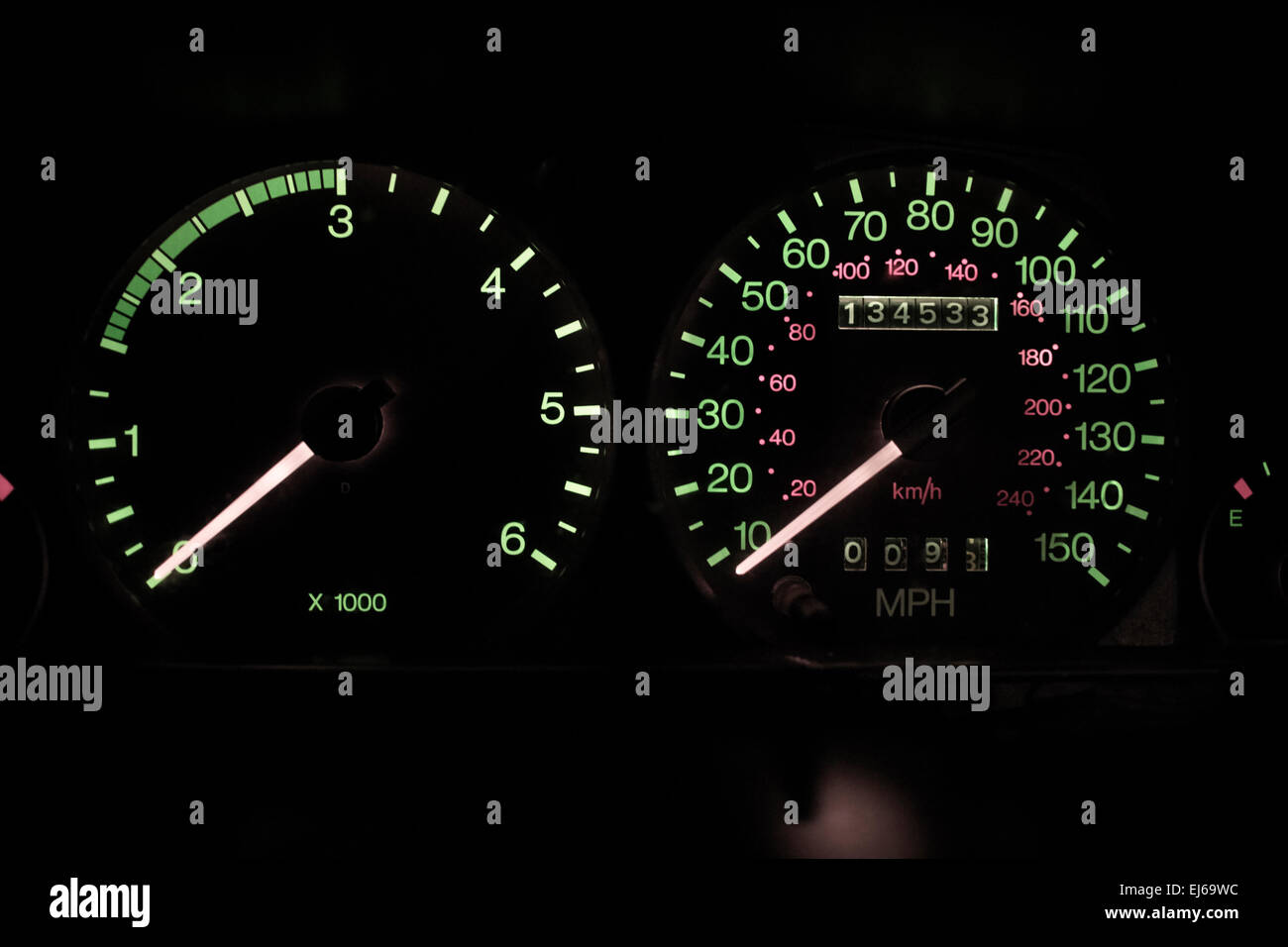 car with high mileage old analogue speedometer and rev counter at rest - Stock Image