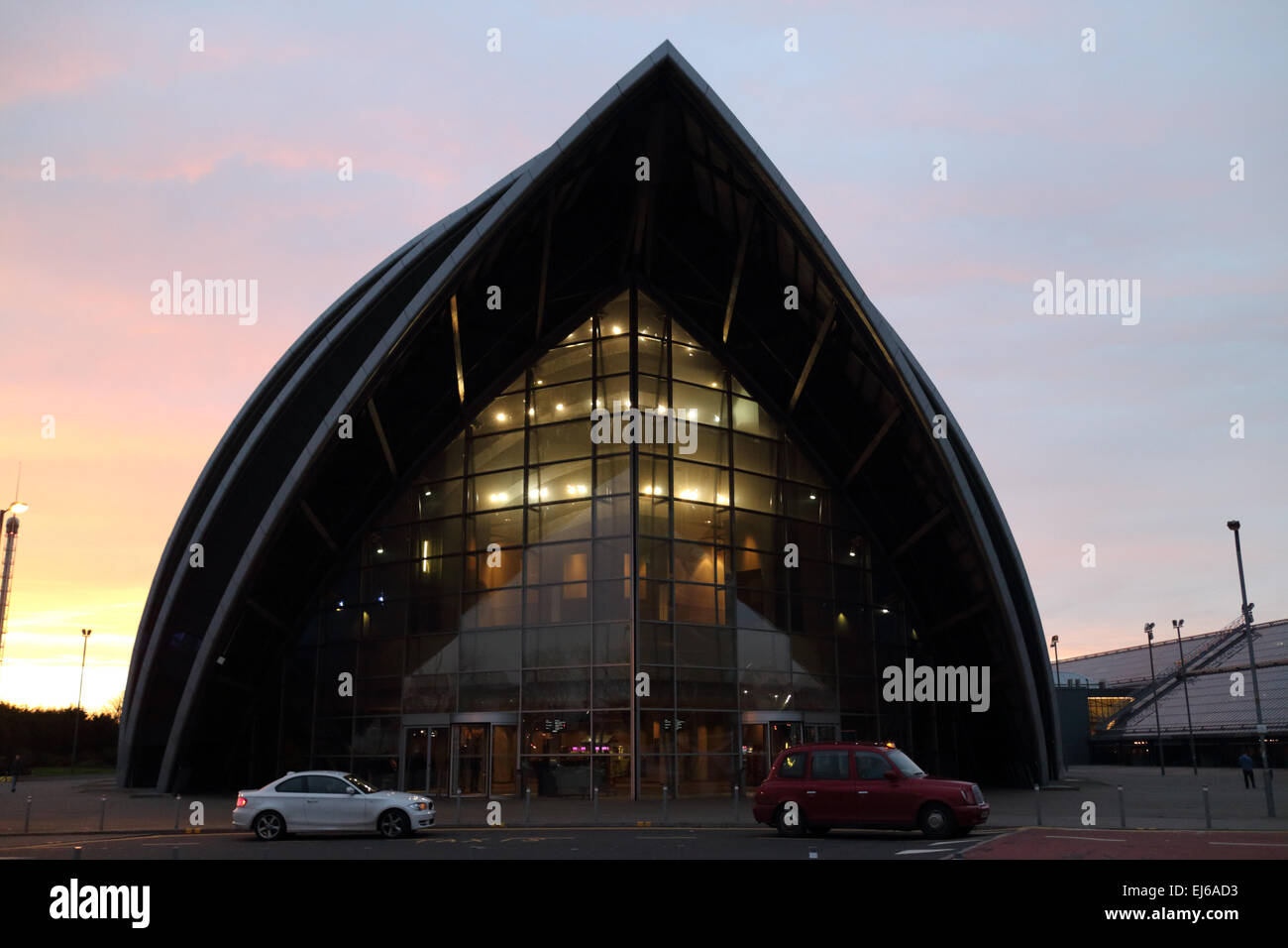 clyde auditorium at the secc scottish exhibition and conference centre at dusk Glasgow Scotland uk - Stock Image