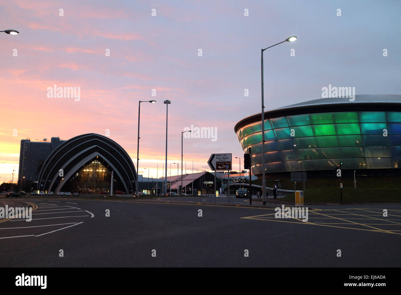 clyde auditorium and sse hydro arena at the secc scottish exhibition and conference centre at dusk Glasgow Scotland - Stock Image