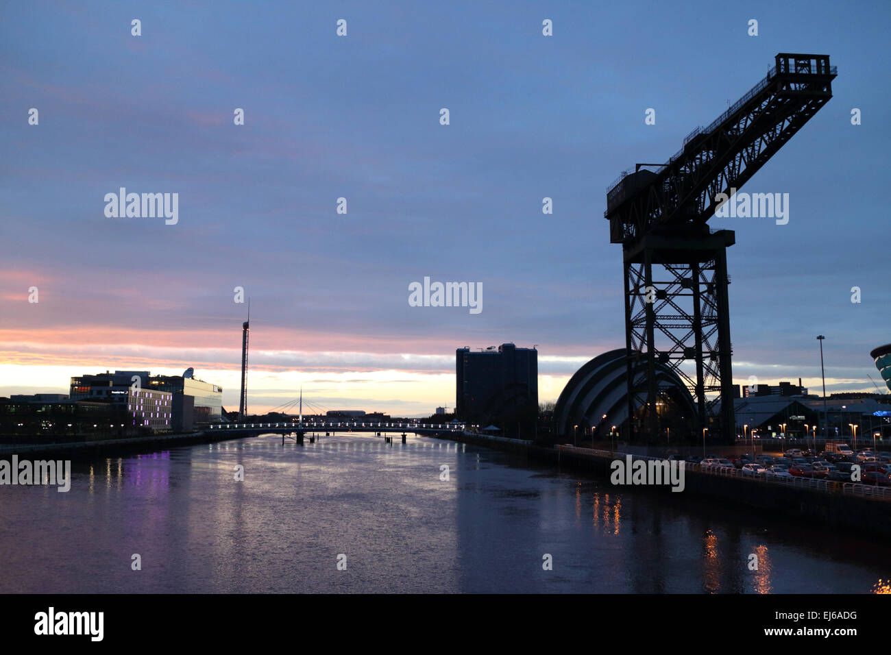river clyde finnieston crane and secc scottish exhibition and conference centre at dusk Glasgow Scotland uk - Stock Image