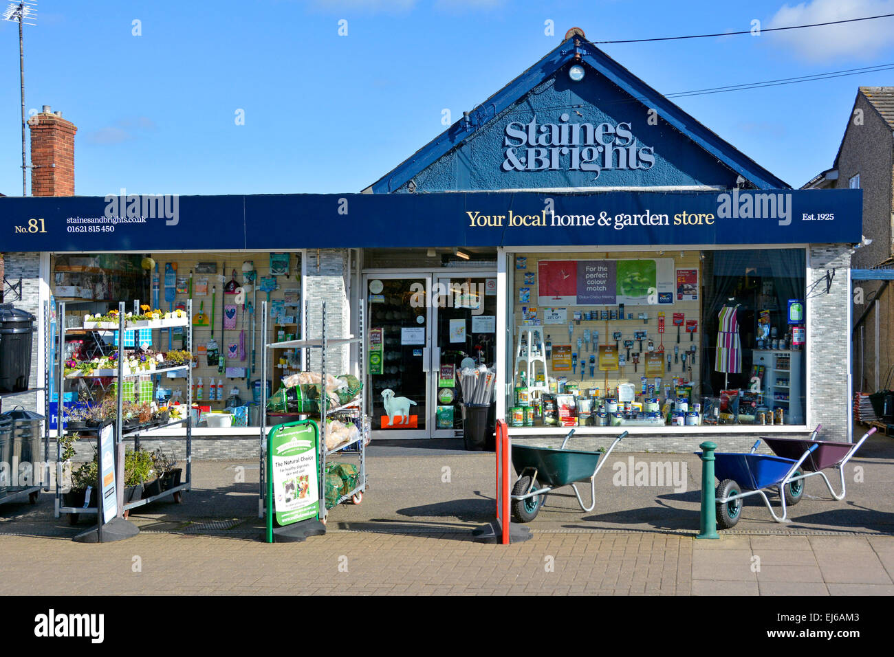 Local Home And Garden Store Shop Front Window And Pavement Display Tiptree  Village Essex England UK