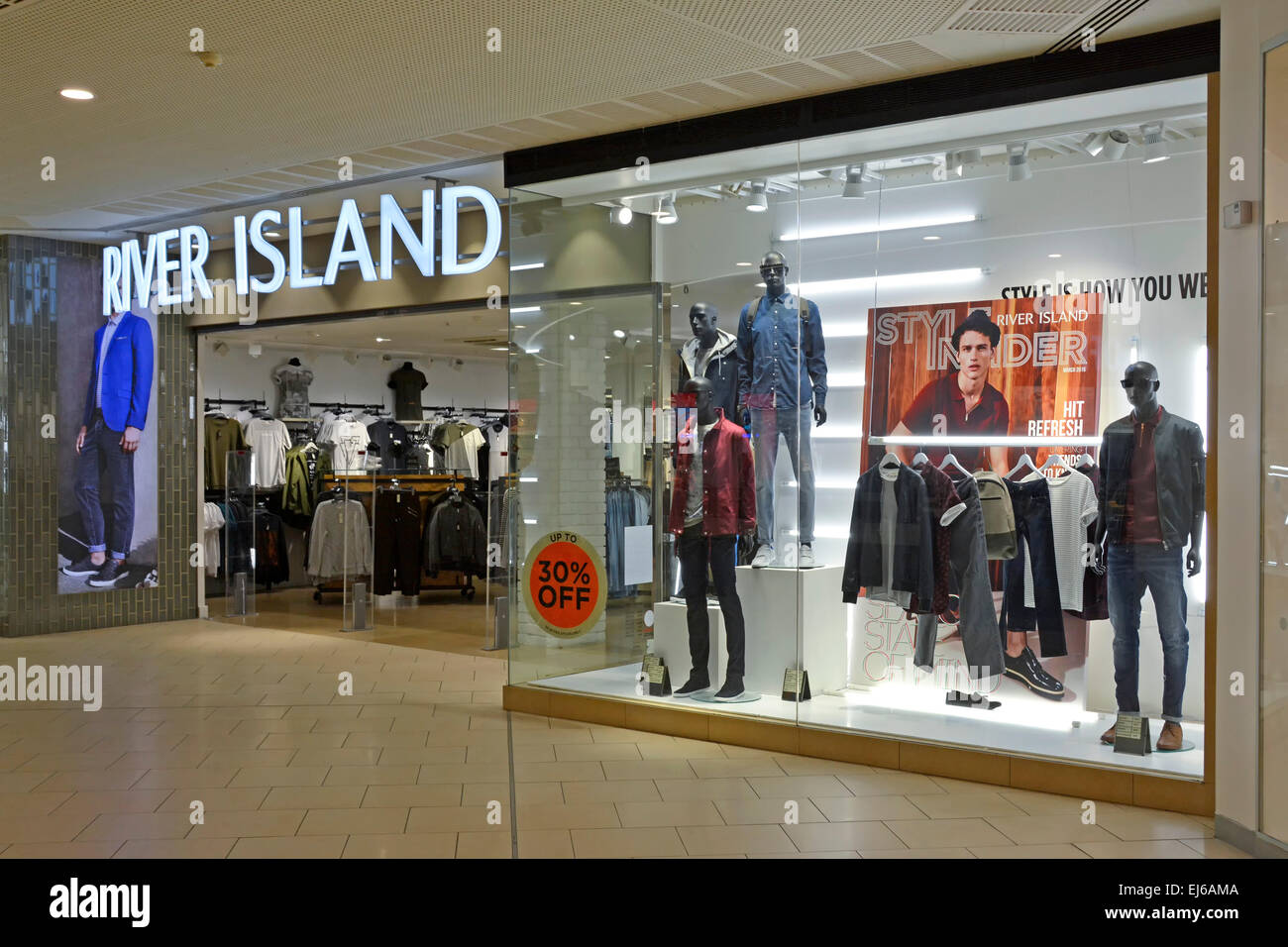 River Island shop windows in Lakeside shopping mall Thurrock Essex England UK Stock Photo