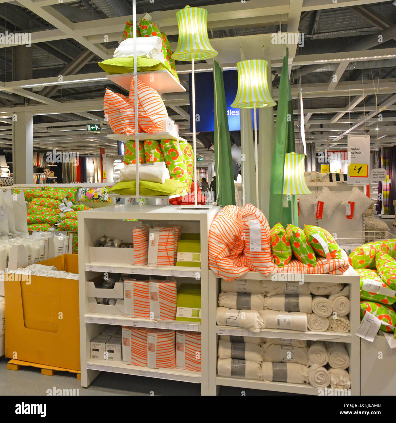 Interior Of Soft Furnishings Department In UK Ikea Store