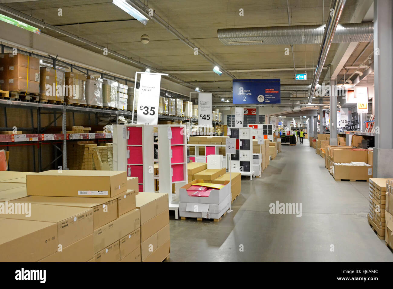 ground floor warehouse customer collection areas in ikea store in the stock photo 80045404 alamy. Black Bedroom Furniture Sets. Home Design Ideas