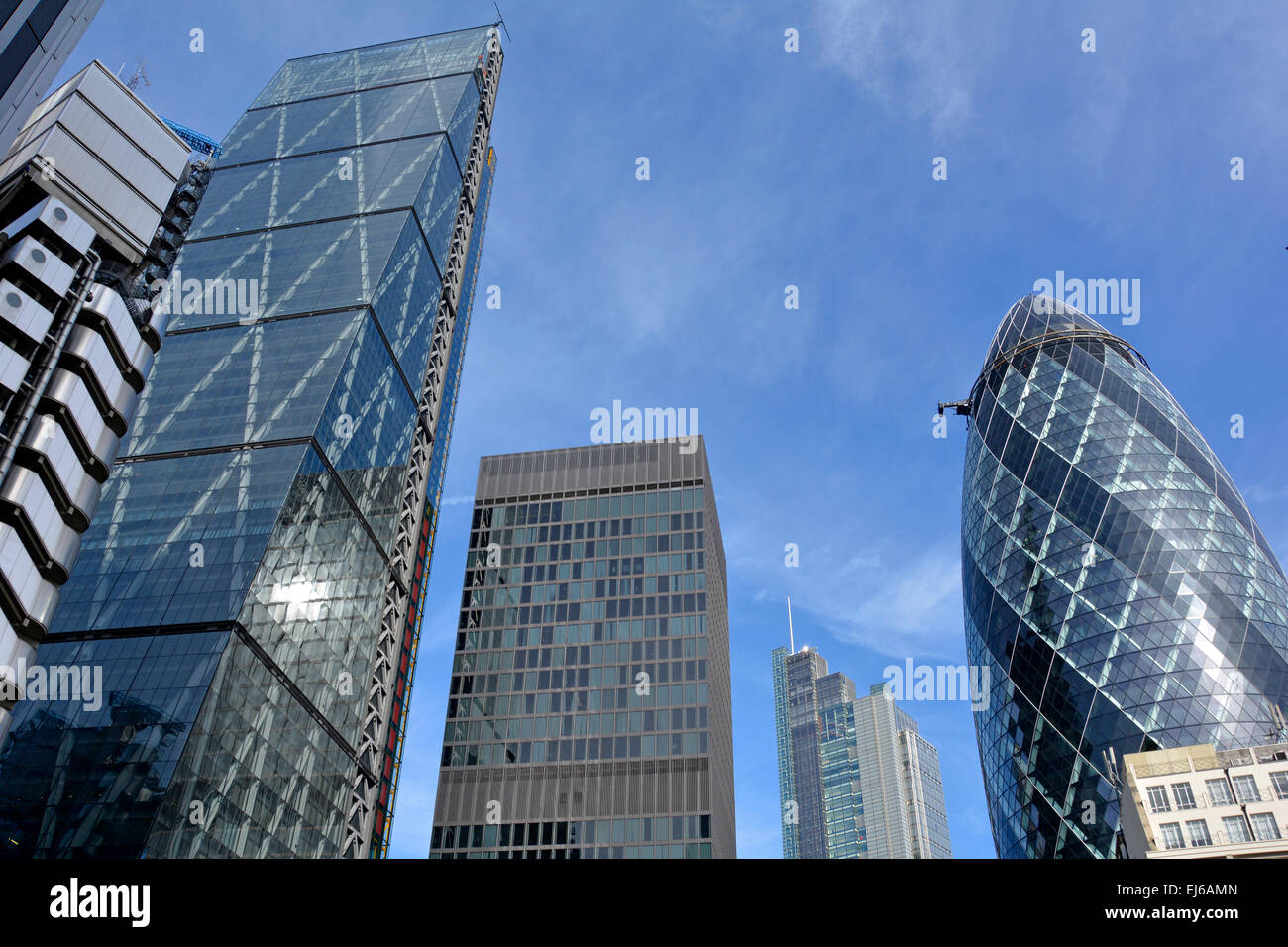 High rise buildings in the City of London L-R Lloyds, Cheesegrater, Aviva Tower, Heron Tower, and the Gherkin - Stock Image