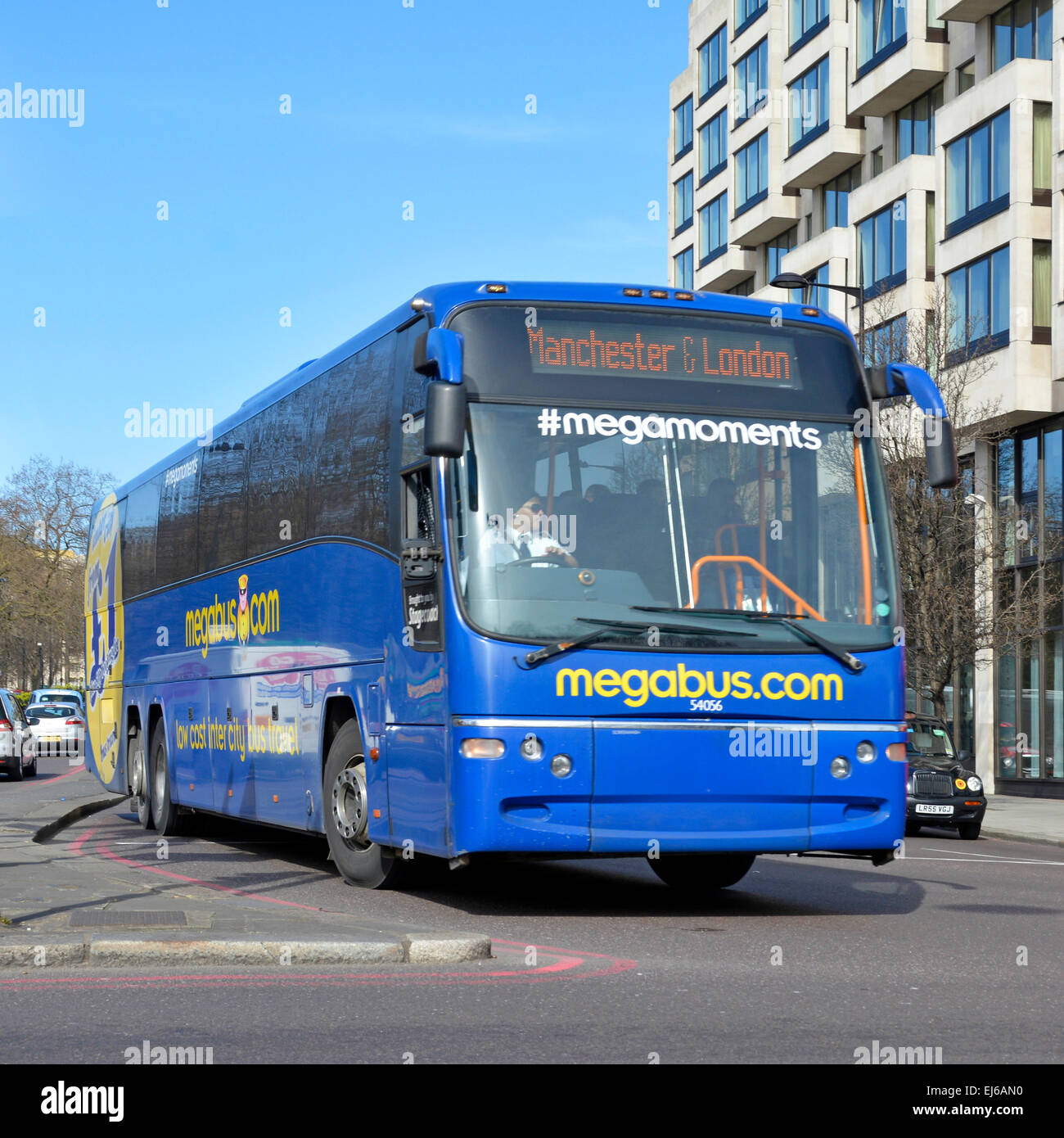 Megabus (brand owned by Stagecoach Group) on London to Manchester route (number plate removed) - Stock Image