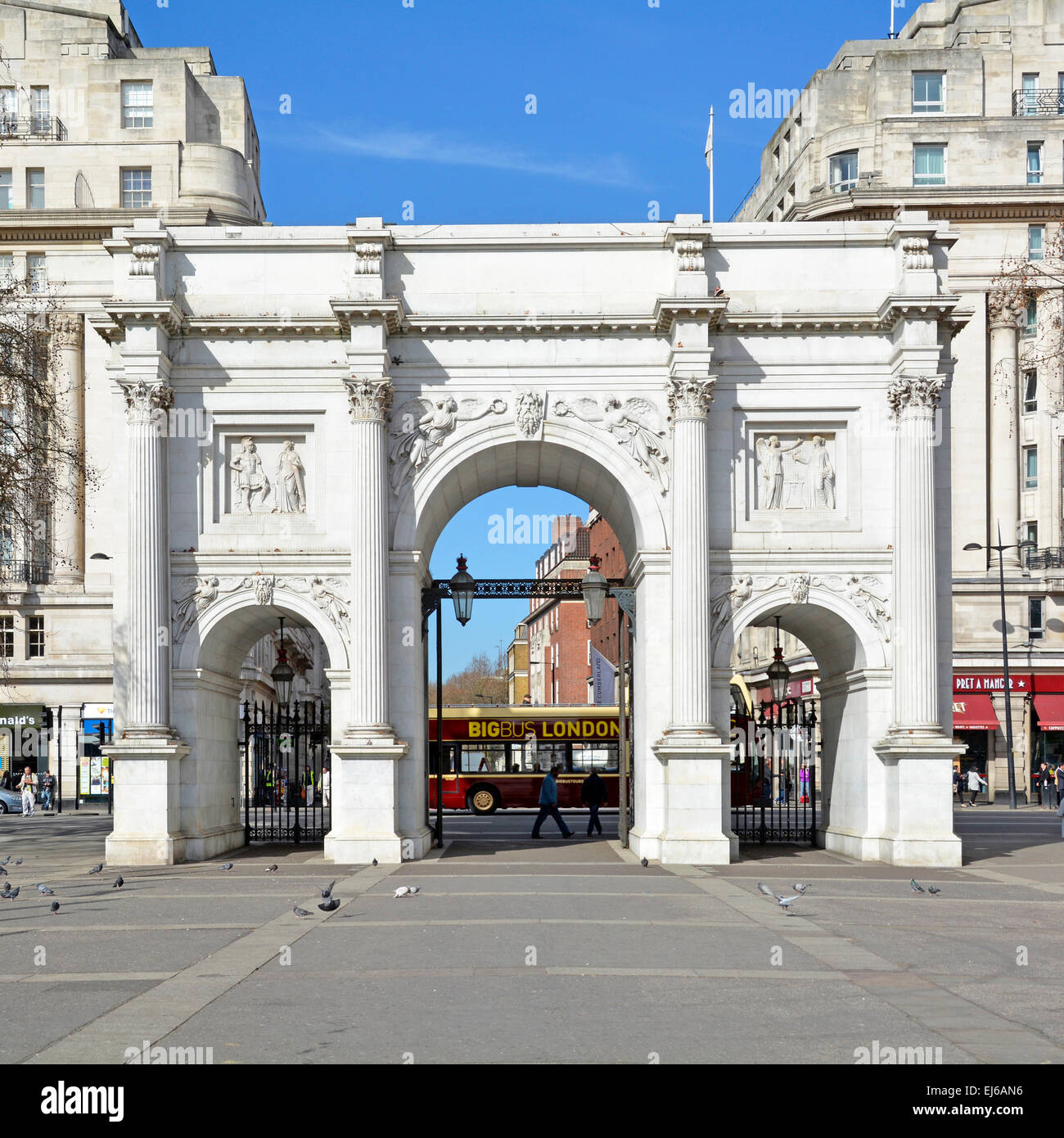 The Marble Arch and gates leading into Oxford Street West End London England UK - Stock Image