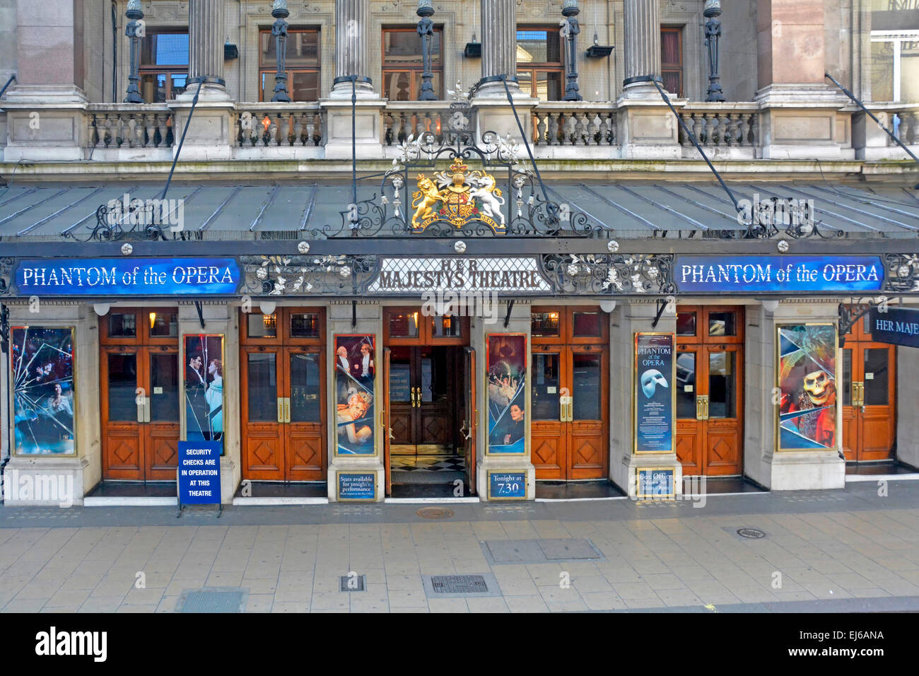 Her Majestys Theatre hosting the Andrew Lloyd Webber production of Phantom of the Opera Haymarket West End London - Stock Image