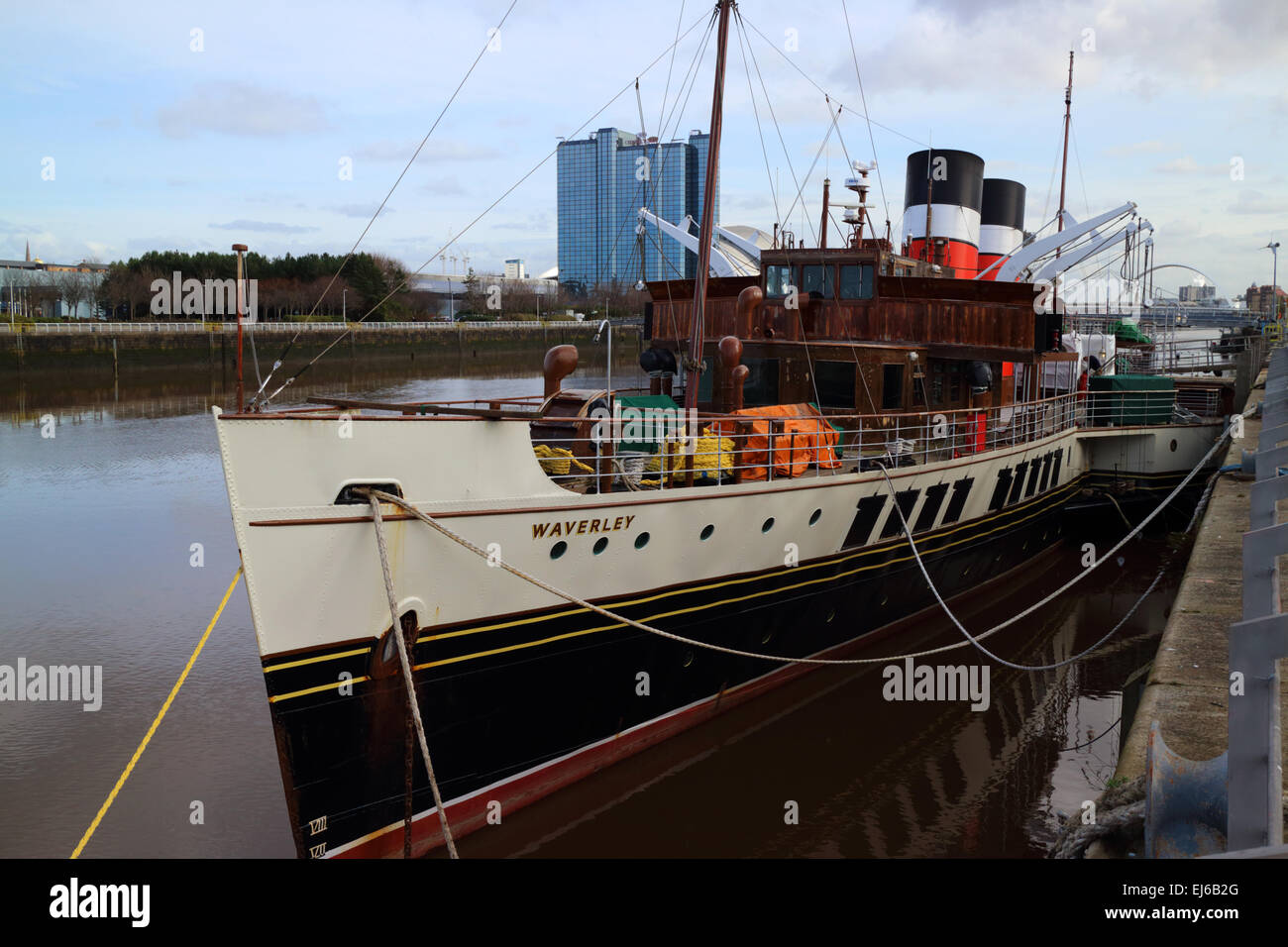 PS waverley paddle steamer Glasgow Scotland uk - Stock Image