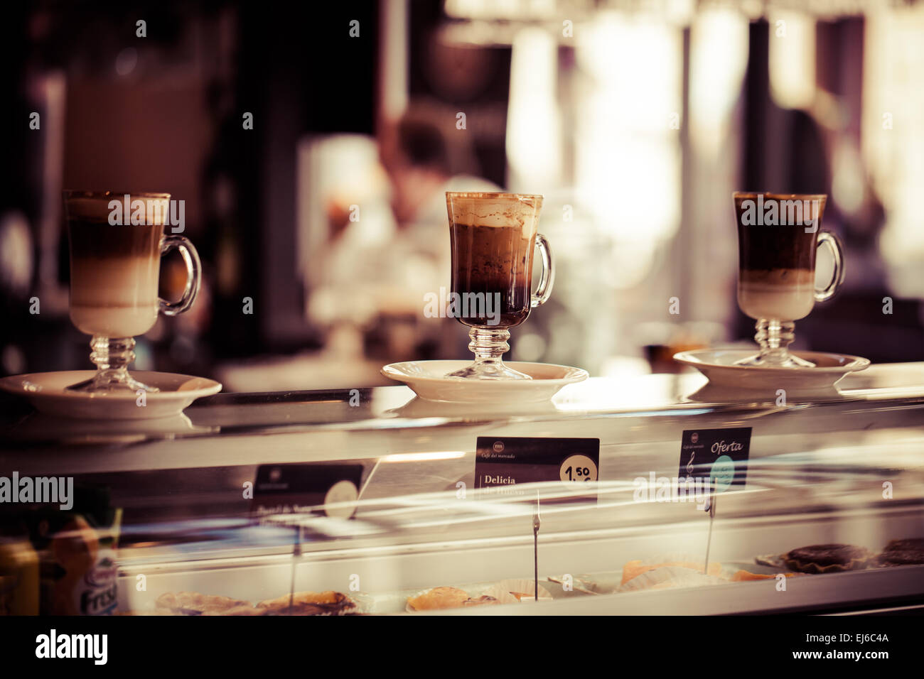 Cafe Coffee Latte In A Glass Stock Photo Alamy