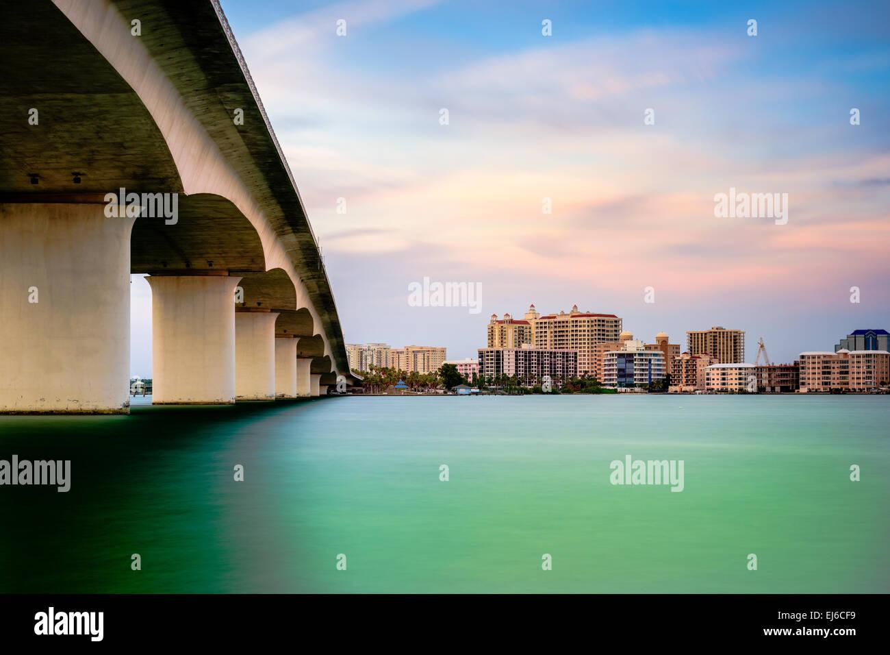 Sarasota, Florida, USA town cityscape from Sarasota Bay. - Stock Image