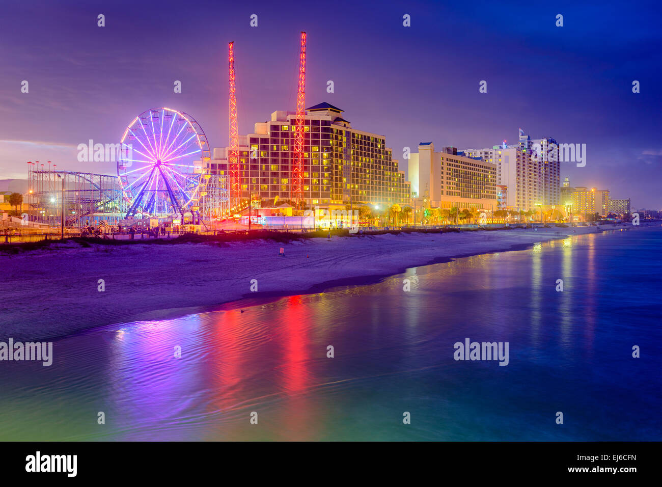 Daytona Beach, Florida, USA beachfront resorts skyline. - Stock Image