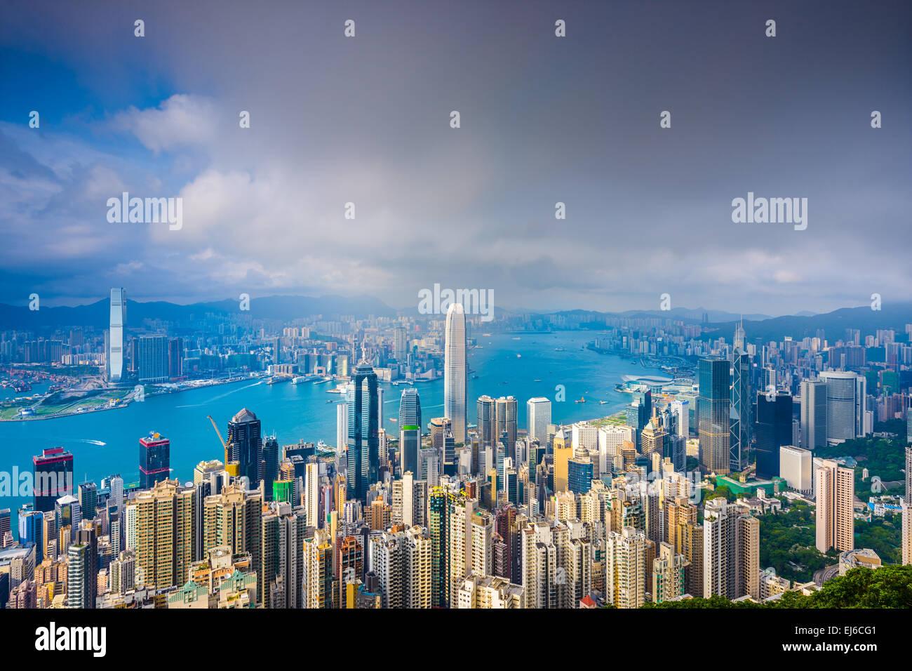 Hong Kong, China cityscape from Victoria Peak. - Stock Image